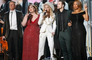 "Macklemore, Mary Lambert, Madonna, Ryan Lewis and Queen Latifah perform ""Same Love"" at the 56th annual Grammy Awards in Los Angeles"